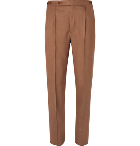 Tan Pleated Woven Suit Trousers by Camoshita