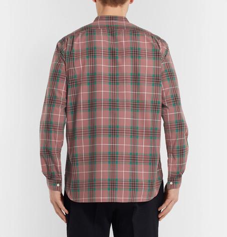 Grandad Collar Checked Cotton Shirt by Camoshita