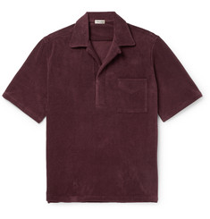 Camoshita Camp-Collar Cotton-Blend Terry Polo Shirt