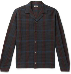 Camoshita Camp-Collar Checked Wool and Linen-Blend Overshirt