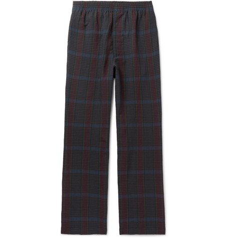 Checked Wool And Linen Blend Drawstring Trousers by Camoshita