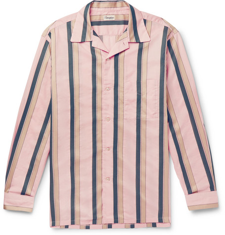 Camp Collar Striped Cotton Shirt by Camoshita