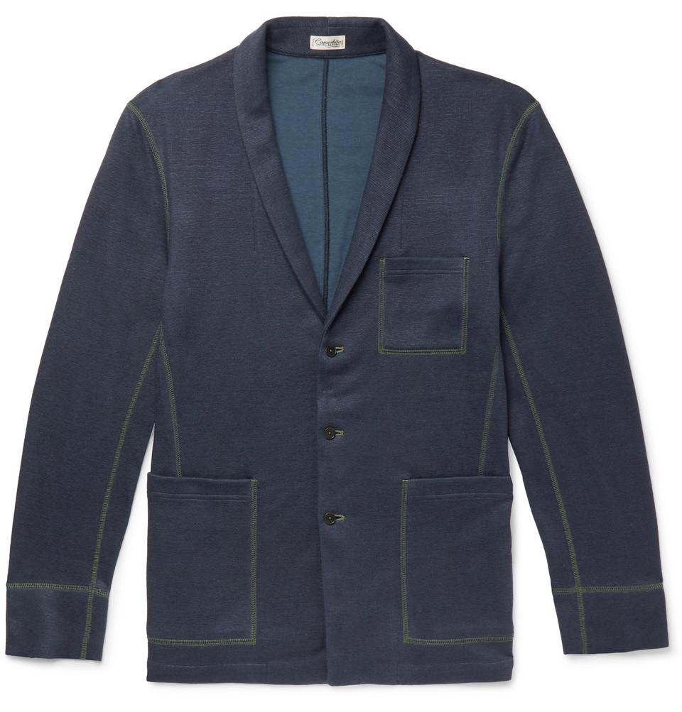 Slim-fit Shawl-collar Knitted Cardigan - Navy