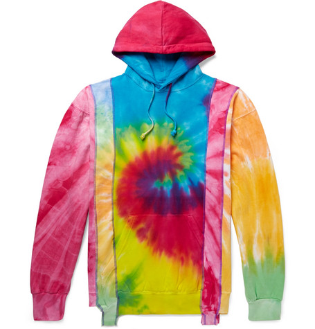 Panelled Tie Dyed Fleece Back Cotton Blend Jersey Sweatshirt by Needles