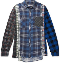 Needles 7 Cuts Distressed Patchwork Checked Cotton-Flannel Shirt