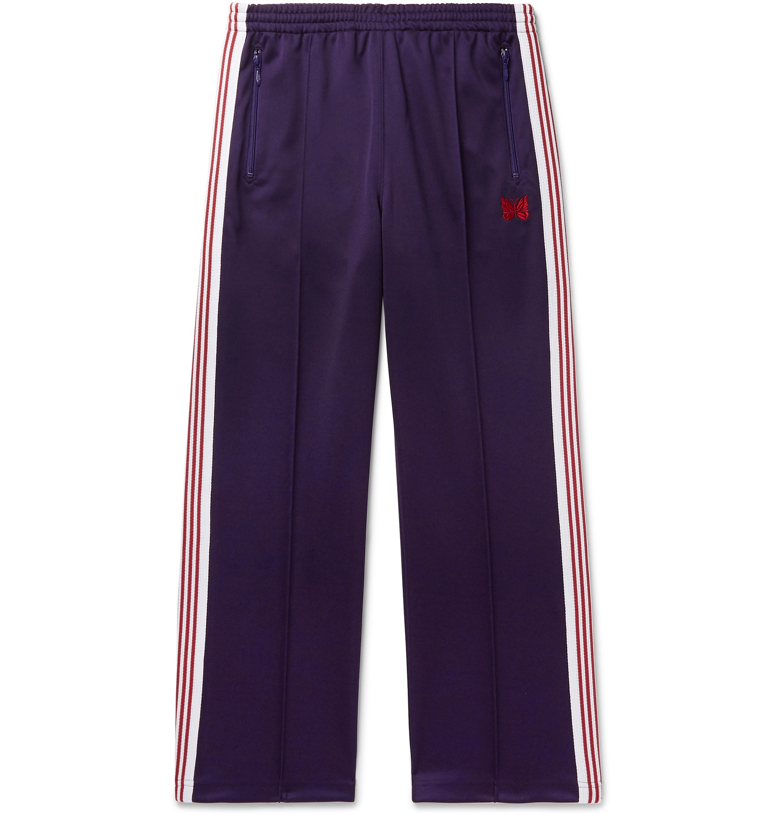 98a84fa6 Needles - Embroidered Striped Satin-Jersey Track Pants
