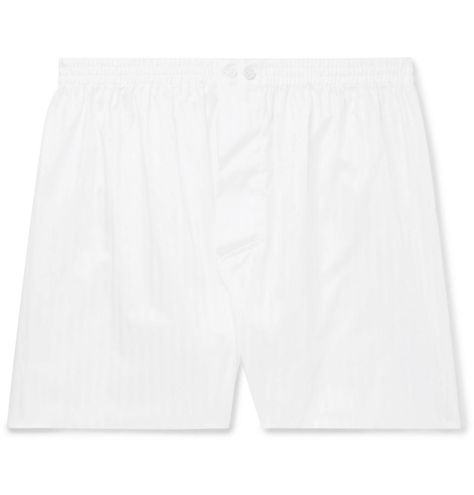 Striped Mercerised Cotton Boxer Shorts - White
