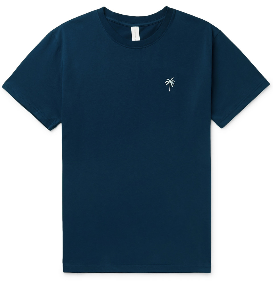 Embroidered Cotton-jersey Pyjama T-shirt - Navy