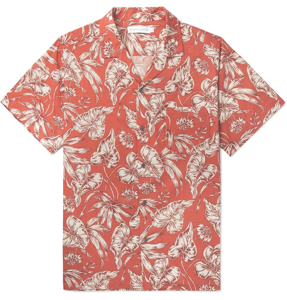 Cuban Printed Cotton Pyjama Shirt - Red