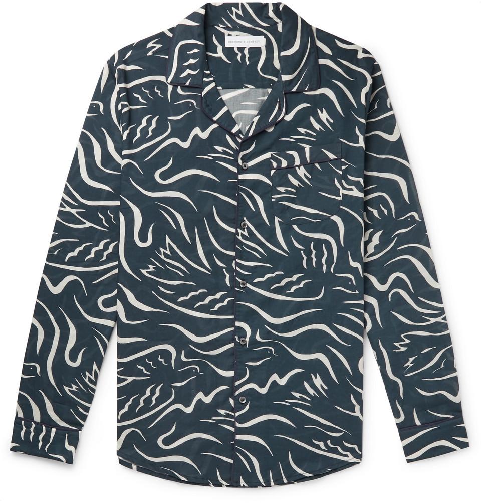 Printed Cotton Pyjama Shirt - Navy