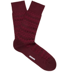 Cotton-blend Jacquard Socks - Burgundy