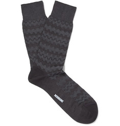 Cotton-blend Jacquard Socks - Gray