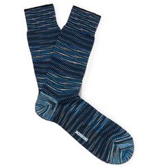 Crochet-knit Cotton-blend Socks - Blue