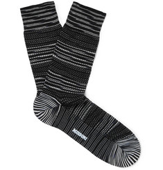 Crochet-knit Cotton-blend Socks - Black