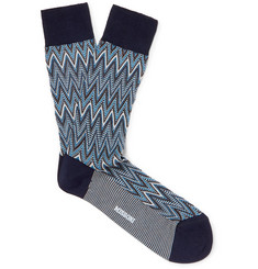 Crotchet-knit Cotton-blend Socks - Blue