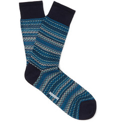 Crochet-knit Cotton Socks - Blue