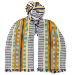 Missoni Fringed Striped Cotton and Silk-Blend Scarf