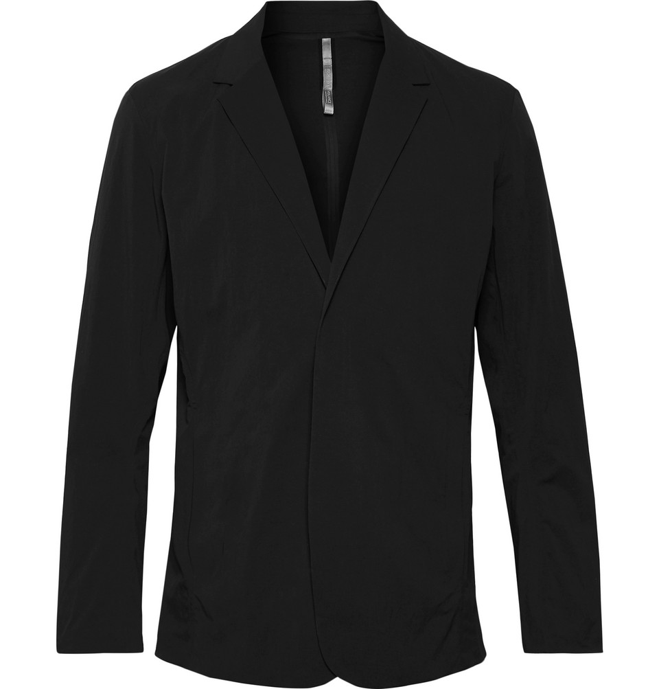 Black Lt Slim-fit Water-resistant Stretch-nylon Blazer - Black