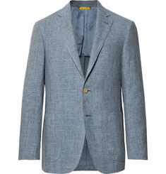 Canali Dusty-Blue Kei Slim-Fit Mélange Linen and Silk-Blend Suit Jacket