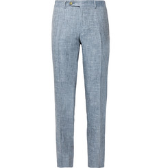 Canali Dusty-Blue Kei Slim-Fit Tapered Mélange Linen and Silk-Blend Suit Trousers