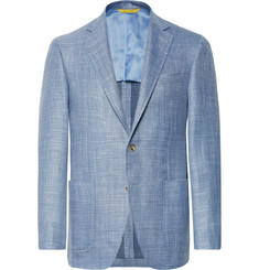Canali - Blue Kei Slim-Fit Mélange Wool, Silk, Linen-Blend Blazer