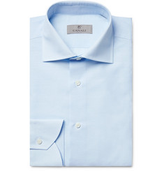 Canali - Light-Blue Cutaway-Collar Slub Cotton and Linen-Blend Shirt