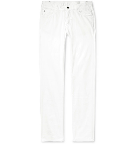 Cotton Blend Twill Trousers by Canali