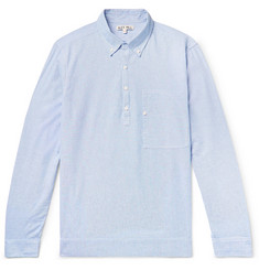Alex Mill Button-Down Collar Pinstriped Cotton Half-Placket Shirt