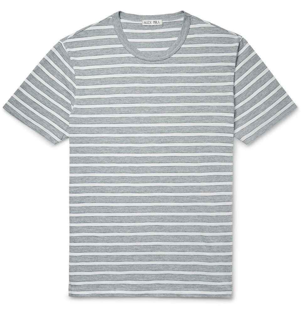 Slim-fit Striped Cotton-jersey T-shirt - Gray