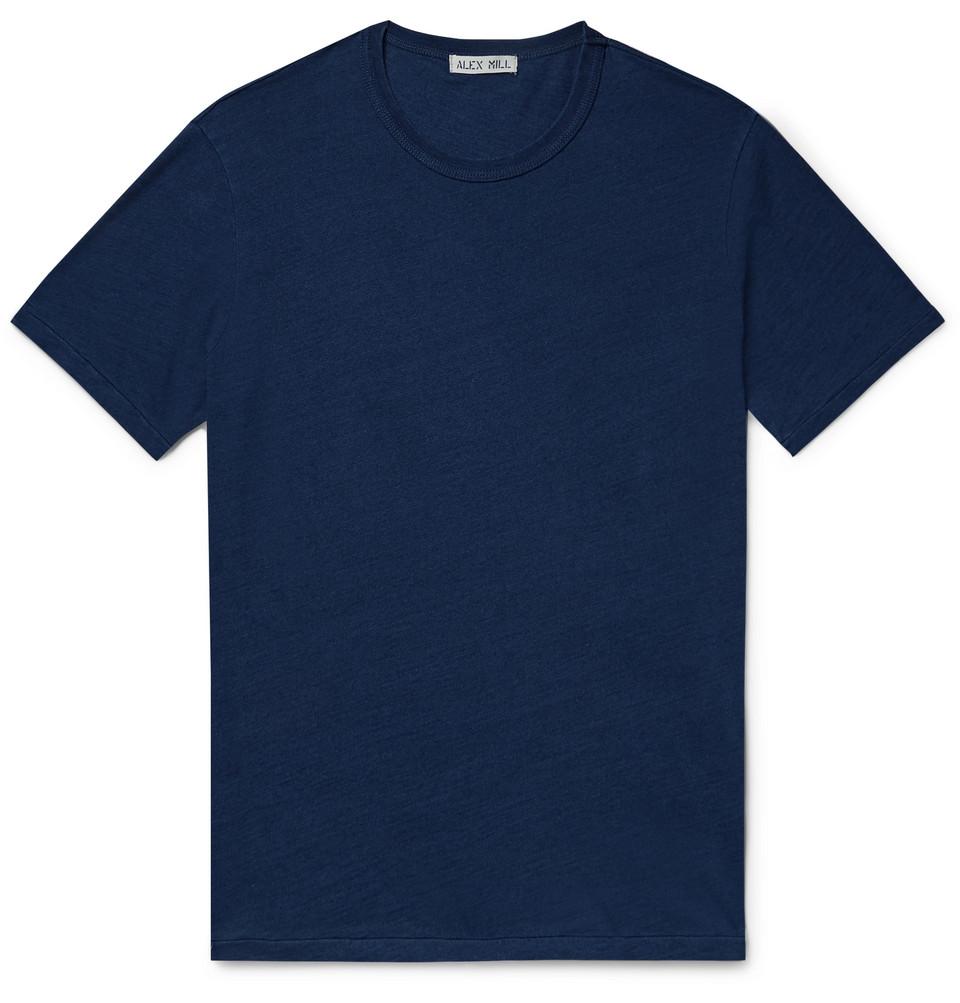Standard Slim-fit Slub Mélange Cotton-jersey T-shirt - Indigo