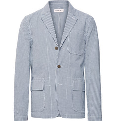 Alex Mill Storm-Blue Unstructured Gingham Cotton-Seersucker Blazer