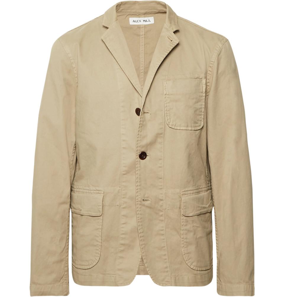 Beige Sack Unstructured Stretch Cotton-twill Blazer - Beige