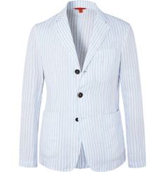 Barena Light-Blue Unstructured Striped Linen Blazer