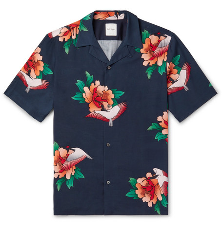 Camp Collar Floral Print Tencel And Linen Blend Shirt by Paul Smith