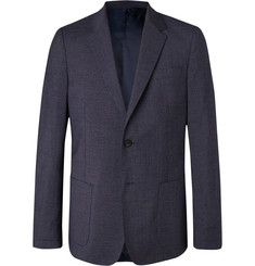 Mr P. - Navy Slim-Fit Checked Wool-Blend Blazer