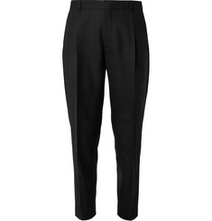 Mr P. Black Tapered Pleated Worsted-Wool Trousers