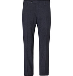 Mr P. Navy Slim-Fit Checked Super 100s Wool-Blend Trousers