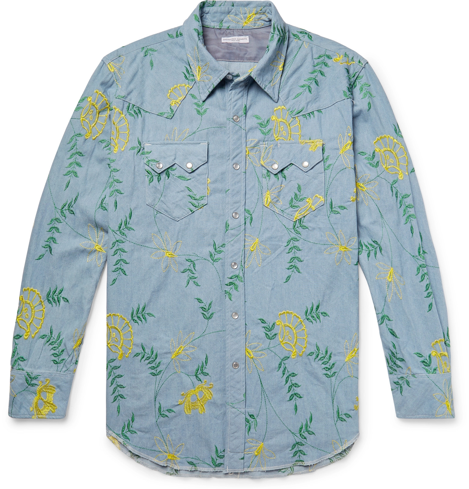 f2b4df9d6d Engineered Garments - Embroidered Cotton-Chambray Western Shirt