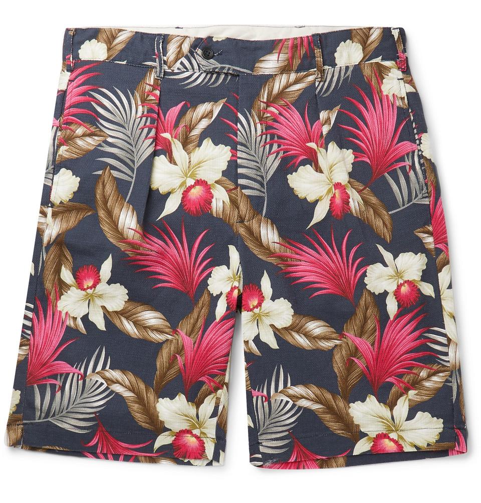 Printed Basketweave Cotton Shorts - Navy
