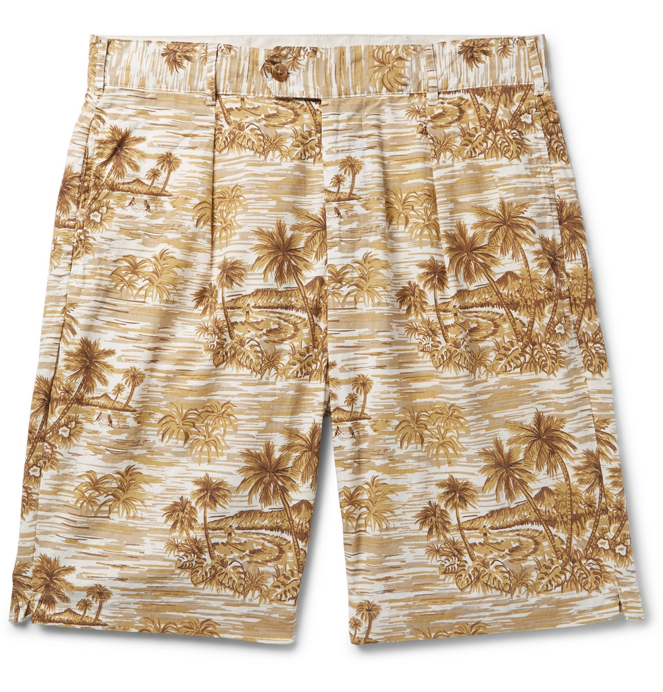 Sunset Pleated Printed Cotton Shorts - Beige