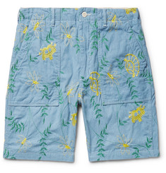 Engineered Garments Embroidered Cotton-Chambray Shorts