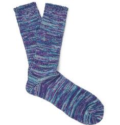 Mélange Cotton Socks - Blue