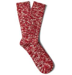 Ribbed Slub Knitted Socks - Red