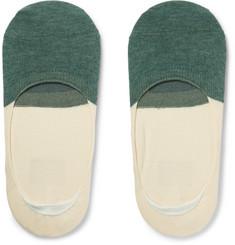 Two-tone Organic Cotton No-show Socks - Green