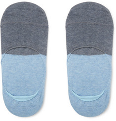 Two-tone No-show Cotton-blend Socks - Blue