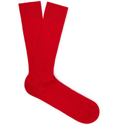 Pantherella - Danvers Ribbed Cotton-Blend Socks