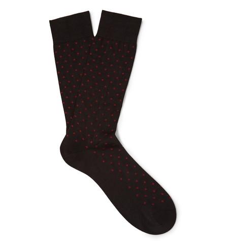 PANTHERELLA | Pantherella - Streatham Polka-dot Cotton-blend Socks - Charcoal | Goxip