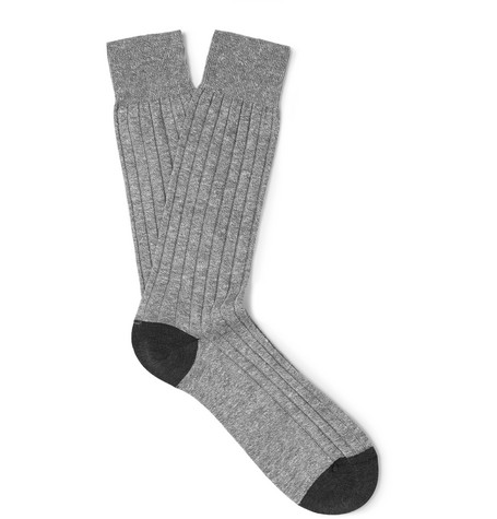 PANTHERELLA | Pantherella - Hamada Two-tone Ribbed Knitted Socks - Gray | Goxip