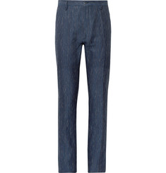 Zanella Navy Noah Slim-Fit Slub-Striped Linen and Cotton-Blend Trousers