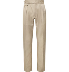 Zanella Normon Tapered Pleated Cotton and Linen-Blend Trousers